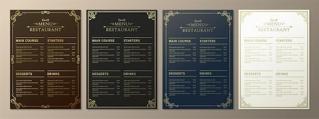 Restaurant menu with elegant ornamental style