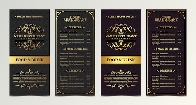 Restaurant menu with elegant ornamental style