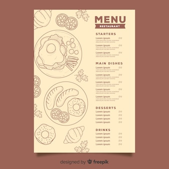 Restaurant menu with food sketches