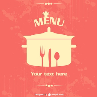 Restaurant menu with knife, fork, spoon and pot template
