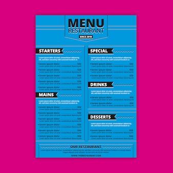 Restaurant menu with main and dessert