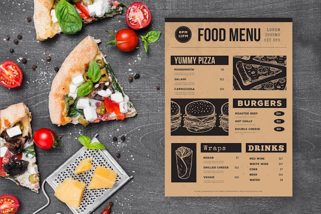 Restaurant menu with pizza slices
