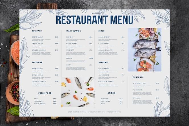 Меню ресторана с морепродуктами