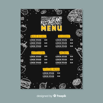 Restaurant menu with special offer