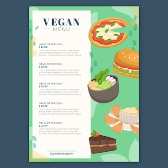 Restaurant menu with vegan options