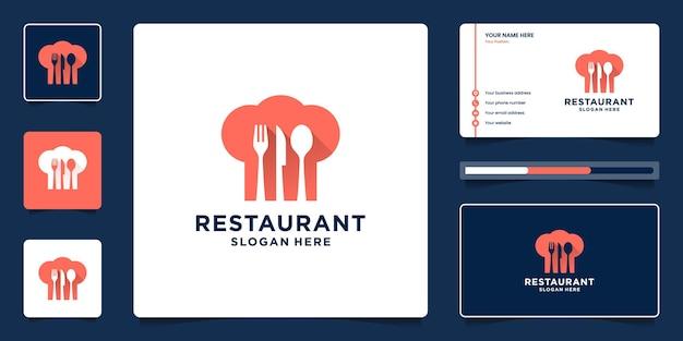 레스토랑 현대 로고 컬렉션. 최소한의 결합 모자, 포크, 숟가락, 음식 로고 템플릿 칼