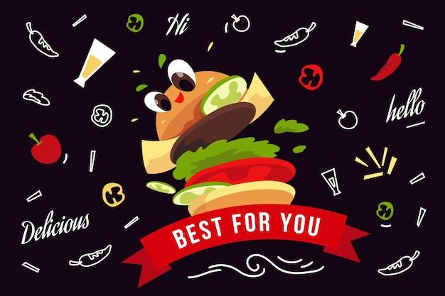 Restaurant mural wallpaper with burger