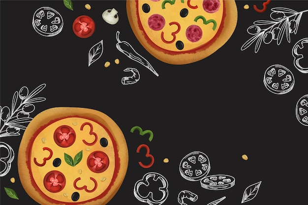 Restaurant mural wallpaper with pizza