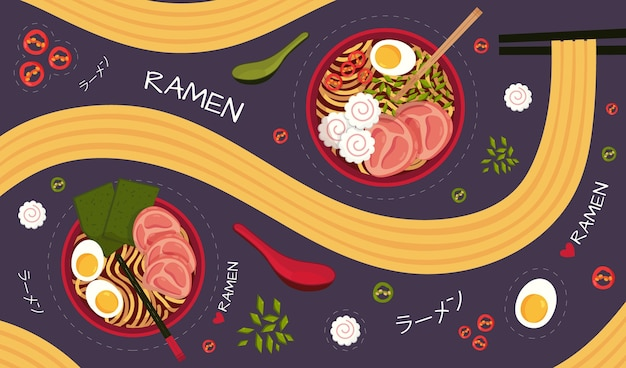Restaurant mural wallpaper with ramen illustrated