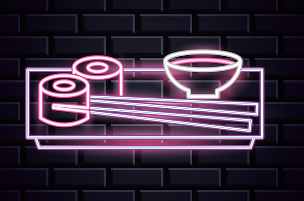 Restaurant neon lights advertising on bricks wall