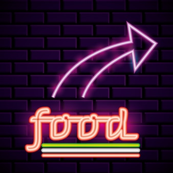 Restaurant neon lights advertising on bricks wall