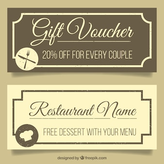 Restaurant offer banners in vintage style