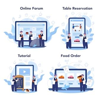 レストランのオンラインサービスまたはプラットフォームセット。制服を着たウェイタースタッフ、ケータリングサービス。テーブルの予約とオンライン注文。