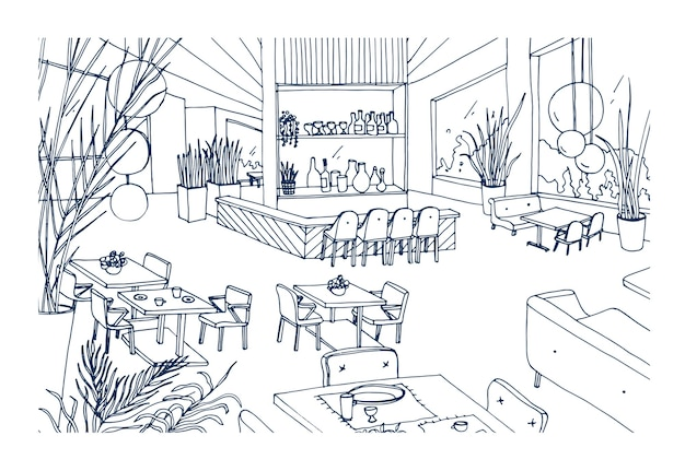 輪郭が描かれたモダンな家具が手に配されたレストランまたはビストロのインテリア。エレガントなロフトスタイルで内装されたカフェやバーのフリーハンド描画。モノクロのベクターイラストです。