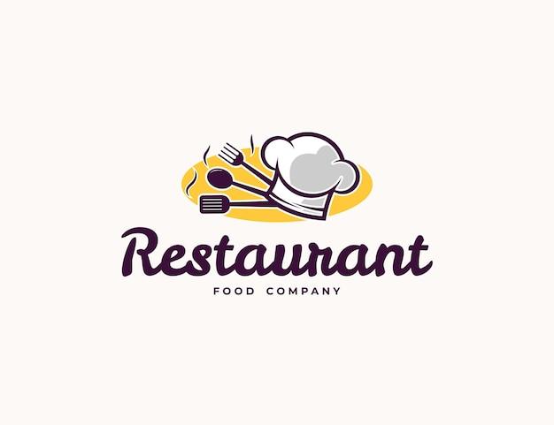 Логотип ресторана или кафе с иллюстрацией шляпы и ложки шеф-повара