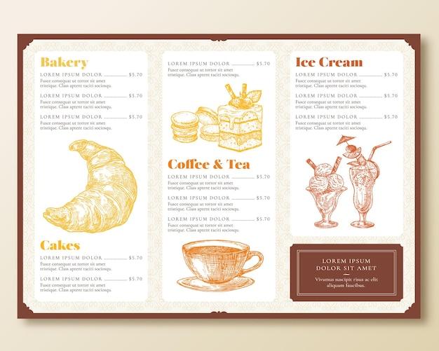 레스토랑 또는 카페 메뉴 템플릿. 손으로 그린 레트로 스타일 디자인 레이아웃