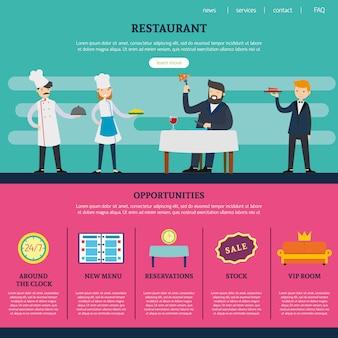 ウェブサイトテンプレートのレストランページ