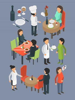 Restaurant people. catering staff services buffet banquet hall event guests eating and drinking dinner bar food  isometric