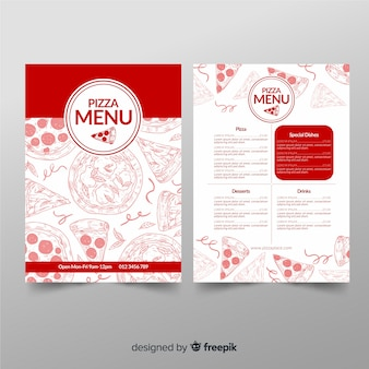 Restaurant pizza menu template in hand drawn