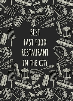 Restaurant poster template with food doodle