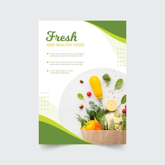 Restaurant poster template with photo and healthy food