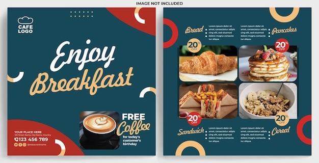 Restaurant promotion feed instagram template in modern design style