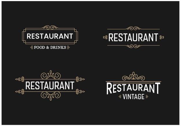 레스토랑 복고풍 배지 로고 컬렉션