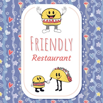 Restaurant retro character background with seamless pattern