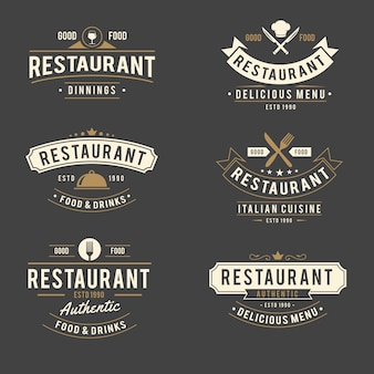 Ресторан ретро логотип коллекции ресторан ретро логотип коллекции