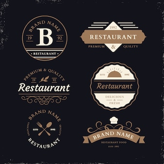 Restaurant retro logo set