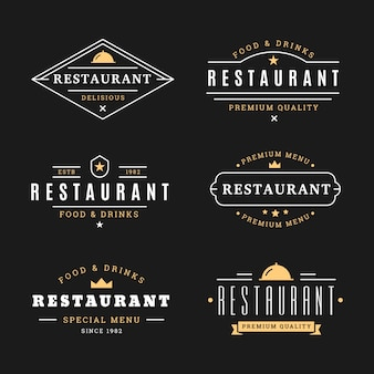 Restaurant retro logo template collection