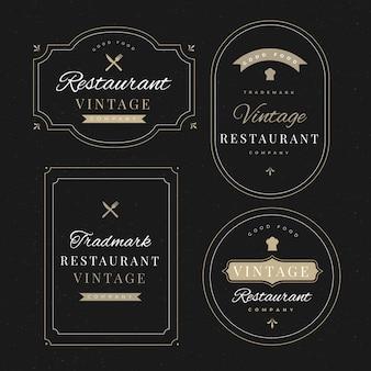 Ресторан ретро логотип шаблонов коллекции