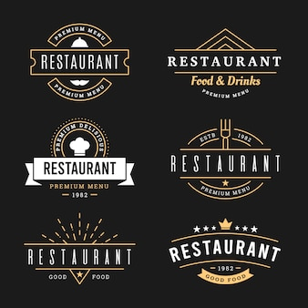 Restaurant retro logo template pack
