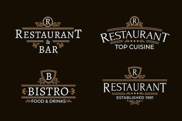 Ресторан ретро логотип набор шаблонов