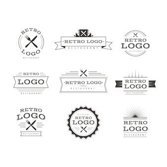 Restaurant retro logo templates collection