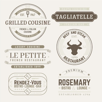 Restaurant retro logo templates pack