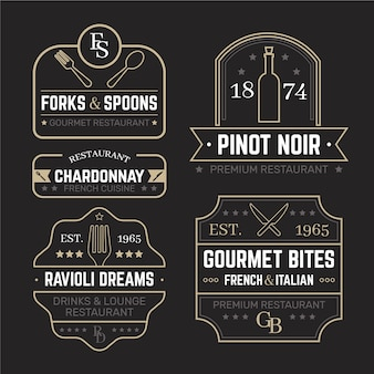 Restaurant retro logo templates set