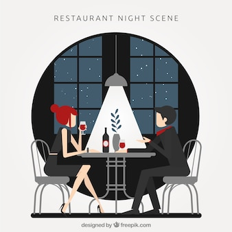 Restaurant scene at night