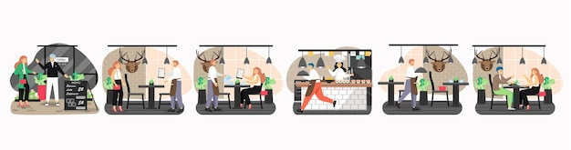 Restaurant scene set, flat isolated illustration. happy male and female characters, visitors, restaurant kitchen chef, waiter. japanese cuisine. romantic date dinner. coffee shop.