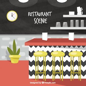 Restaurant scene with red floor