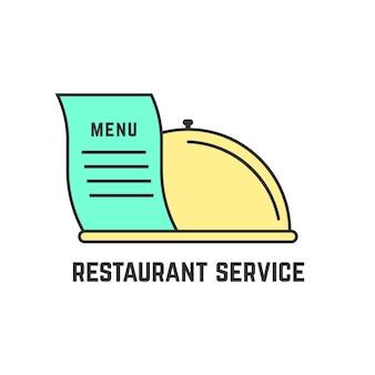 アウトラインディッシュ付きのレストランサービス。カトラリー、料理、料理、高級料理のコンセプトで、お食事をお楽しみください。白い背景で隔離。フラットスタイルトレンドモダンなロゴタイプデザインベクトルイラスト