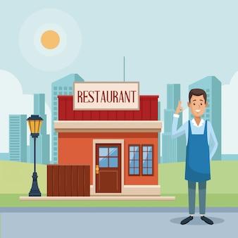 レストランショップとビジネスマン