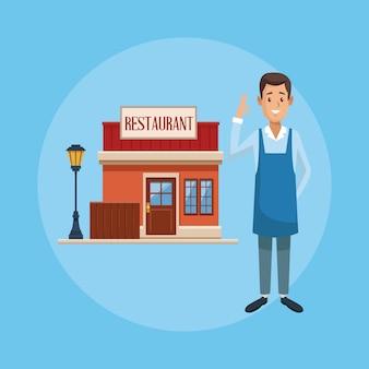 Restaurant shop and businessman