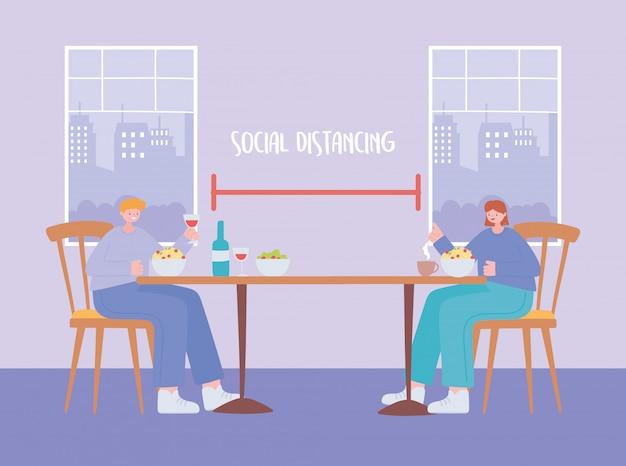 レストランの社会的距離、食事時間の物理的な新しい通常のライフスタイル、パンデミック、コロナウイルス感染の防止