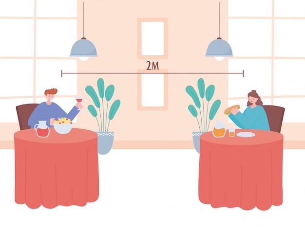 レストランの社会的距離、飲食する人々は安全な距離を保ち、コロナウイルス感染の防止