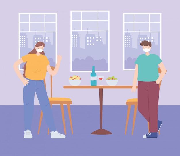 レストランの社会的距離、飲食物を持つ人々は安全な距離を保ち、パンデミック、コロナウイルス感染の予防