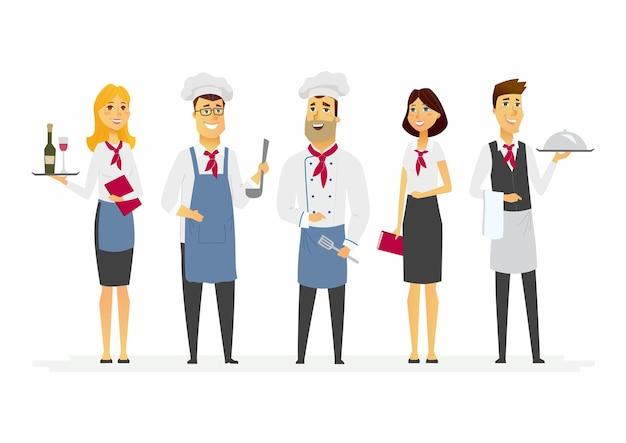 レストランのスタッフ-漫画の人々のキャラクターは、白い背景の上のイラストを分離しました。立っているカフェ労働者のグループ:シェフ、料理人、ウェイター、マネージャー、ホステス。制服を着たケータリングの専門家