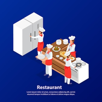 Il personale del ristorante cucina in cucina. illustrazione isometrica di vettore 3d