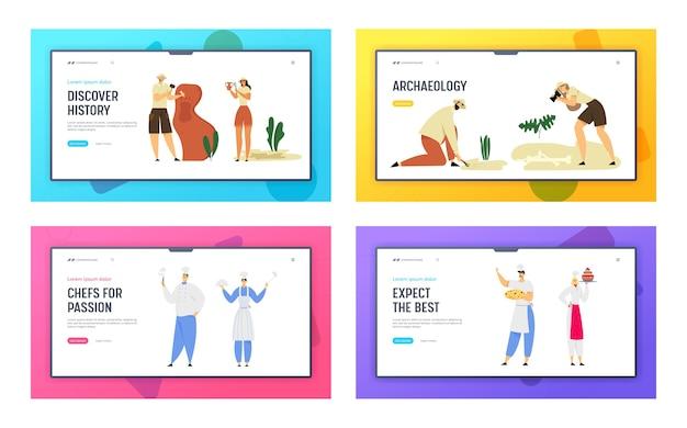 レストランスタッフホスピタリティと考古学者古生物学労働者のウェブサイトのランディングページセット。