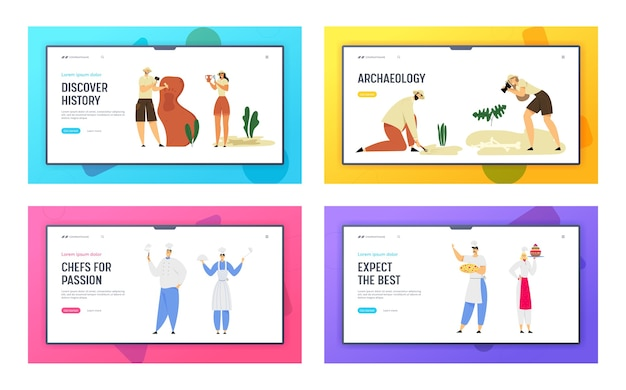 Restaurant staff hospitality and archeologists paleontology workers website landing page set.
